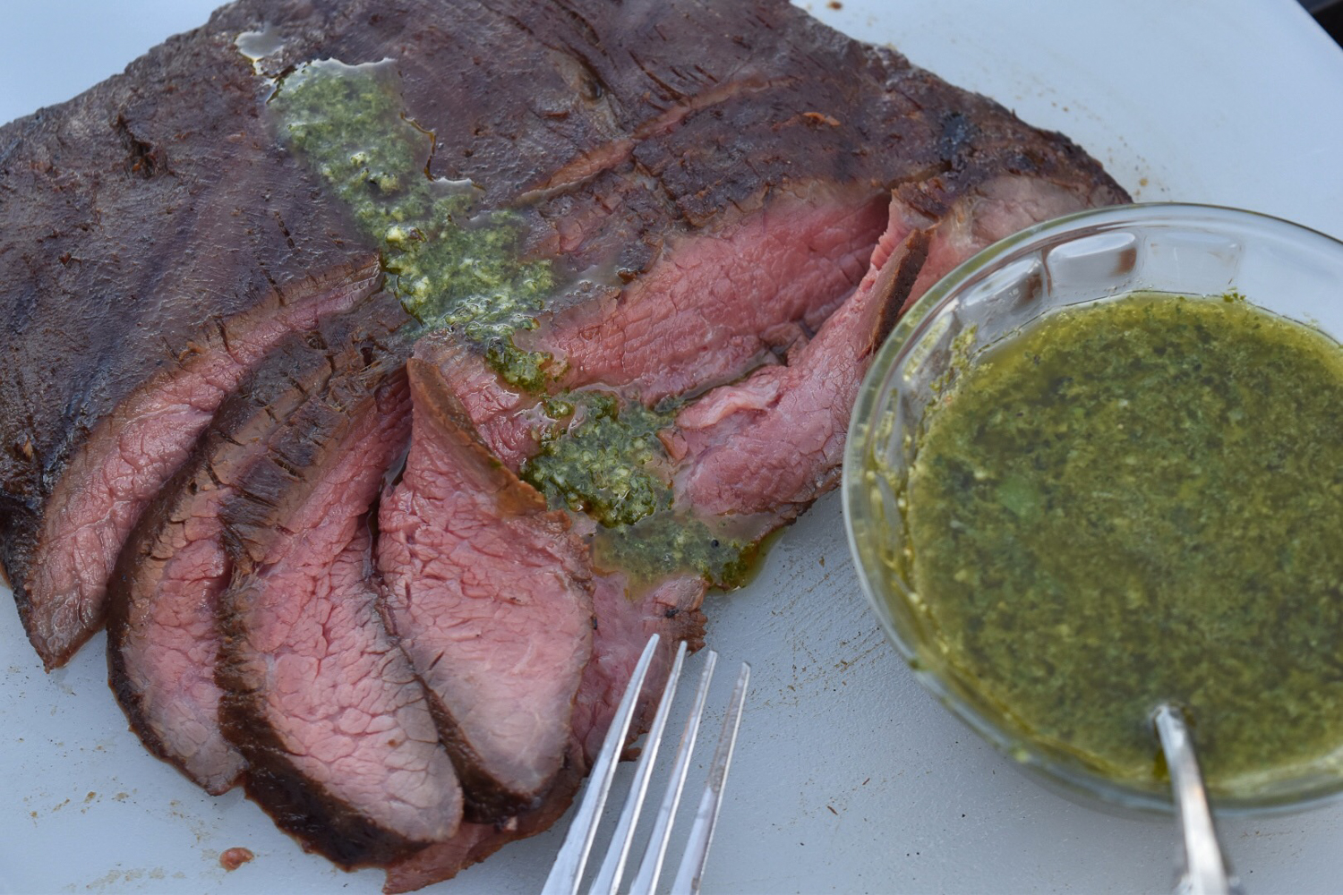 Flank Steak with Chimichurri Sauce | With Two Spoons